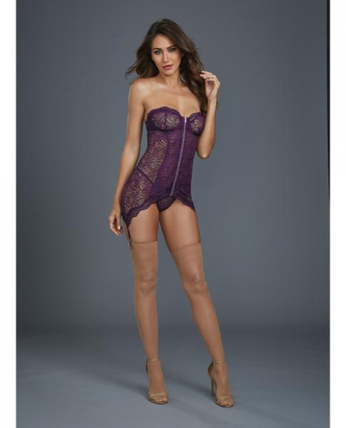 Lace Garter Slip Removable Straps, Garters & G-String Plum Lg