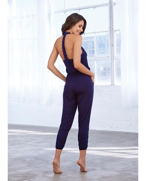 Soft Knit Jersey Sleepwear Jumpsuit Eggplant Lg