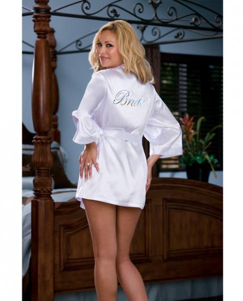 Nuptial Bride Charmeuse Robe, Babydoll White 3X/4X