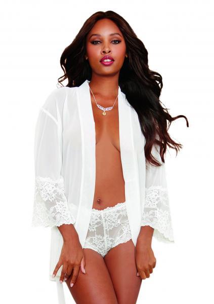 Chiffon Lace Short Kimono Robe & Cheeky Panty White Lg