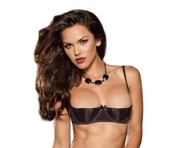 Satin Open Cup Underwire Shelf Bra Black 38