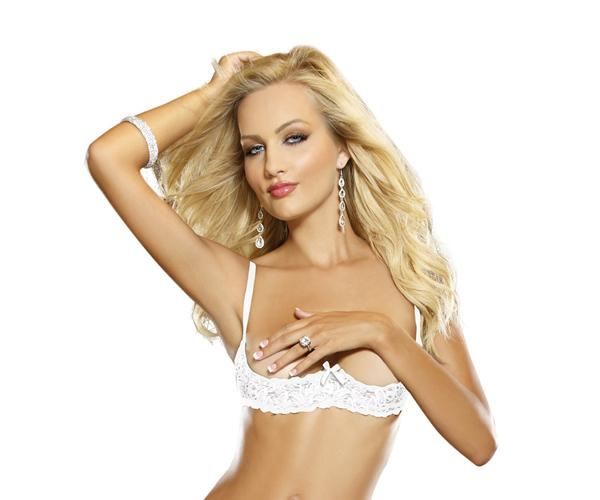 Stretch Lace Open Cup Underwire Shelf Bra White 36