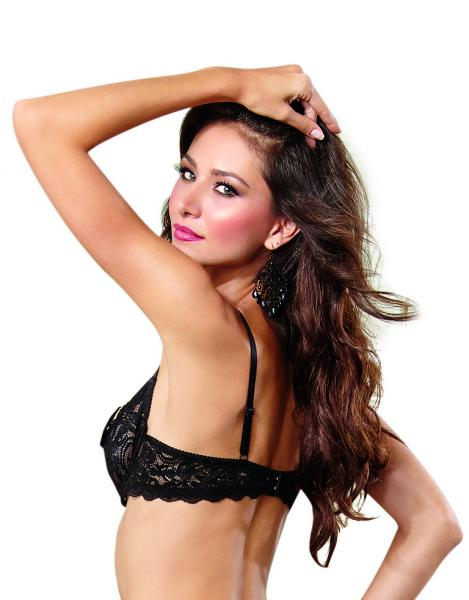 Scalloped Stretch Lace Open Cups Shelf Bra Black 38