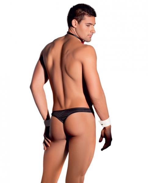 Men's Tuxedo Set Thong, Cuffs & Tie Black White O/S