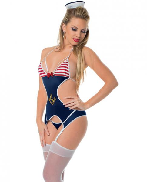 First Mate Bustier, Panty & Thigh Highs Blue White O/S