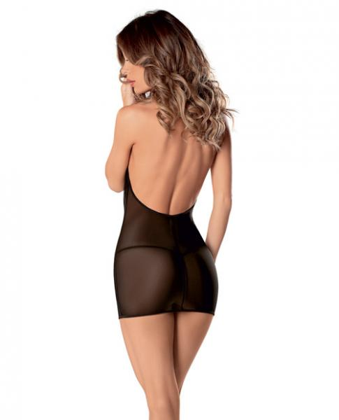 Sheer Cowl Neck Dress & Panty Black O/S