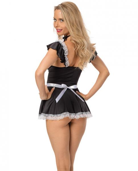Chamber Maid Dress & Panty Black White O/S