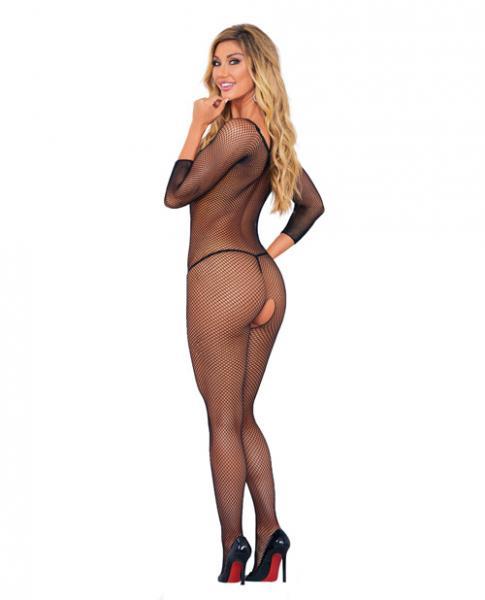 Long Sleeve Fishnet Crotchless Bodysuit Black O/S