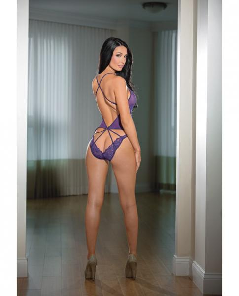 Sheer Strappy Back Teddy Lace Midnight Purple O/S