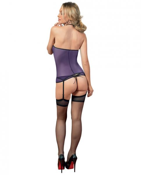 Halter Tie Bustier, Panty & Hose Purple/Black O/S