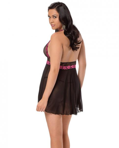 Halter Embroidered Babydoll Black/Fuchsia Queen