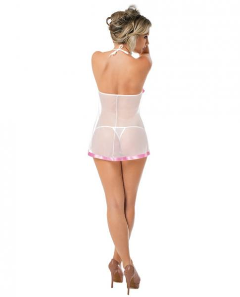 Sheer Chemise Lace Cups, Pink Trim & Panty White O/S