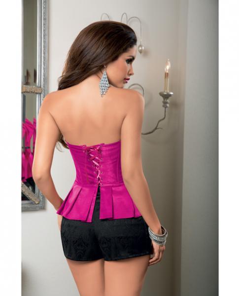 Peplum Corset Ribbon Lace Up Back, Side Zipper Hot Pink Gloss 32
