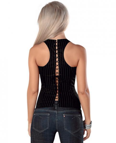 Adjustable Buckle Strap Corset Front Zipper & Soft Boning - Black/White Pinstripe 36