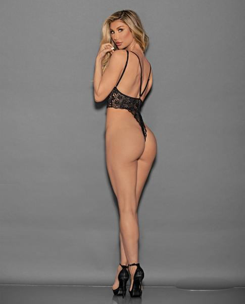 Euphoria Lace Skinny Crotch High Leg Teddy Black O/S