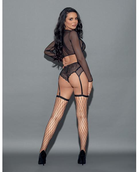 Euphoria Long Sleeve Top, Panty Garter & Hose Black O/S