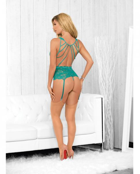 Strapped Back Bustier, Hose & Panty Caribbean Green Sm