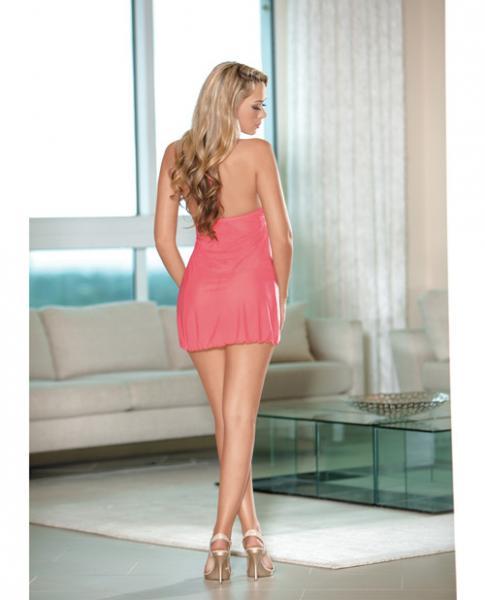 Sheer Halter Tie Babydoll Lace Coral Pink Medium