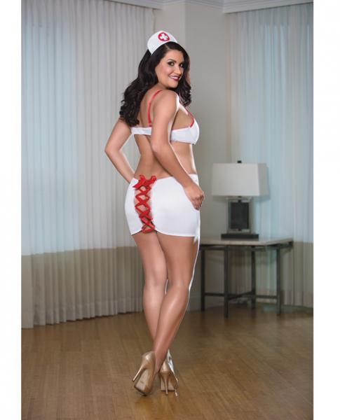 Nurse Bra Skirt Set White/Red 3X