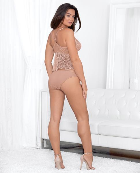Eyelash Cami Adjustable Straps & Panty Dusty Rose Lg