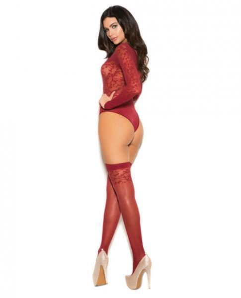 Sheer Burnout Long Sleeve Teddy & Matching Stockings Burgundy O/S