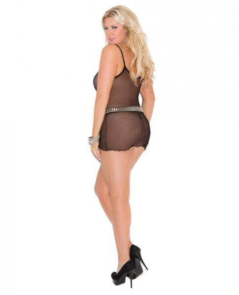 Slip Style Fishnet Mini Dress Black One Size Queen