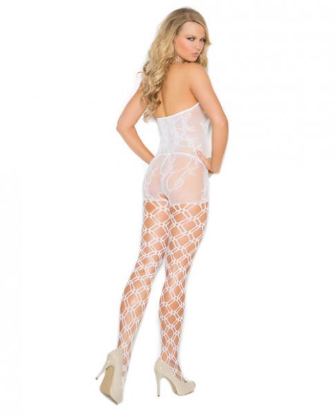 Crochet Bodystocking Open Crotch White O/S