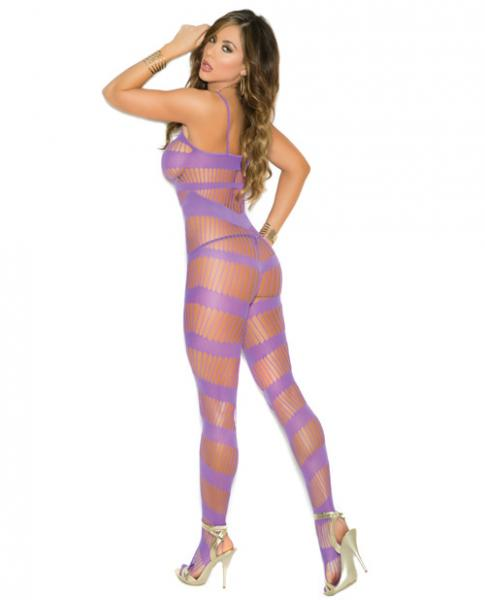 Strappy Bodystocking Open Crotch Purple O/S