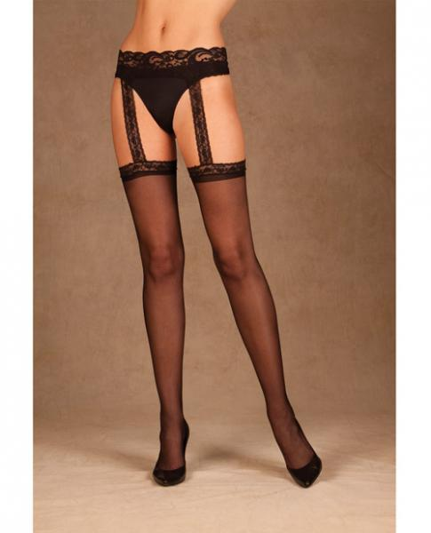 Sheer Thigh High Attached Lace Garterbelt Black O/S