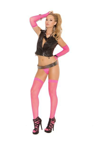 Neon Nites Fishnet Thigh High Stockings Pink O/S