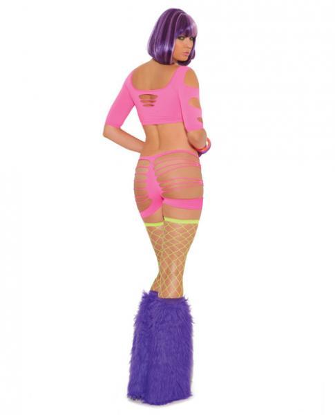 Neon Nites Shredded 3/4 Sleeve Shredded Booty Short Neon O/S