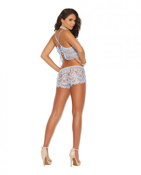 Xena Lace Cami Top & Booty Shorts Blue Medium