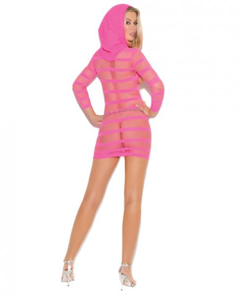 Hooded Mini Dress 3/4 Sleeves Neon Pink O/S