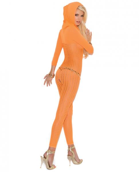 Crochet Hooded Bodystocking 3/4 Sleeves Orange O/S