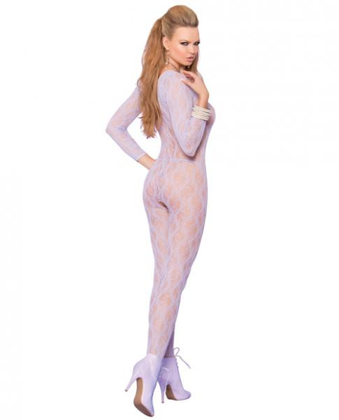 Vivace Long Sleeve Lace Bodystocking Open Crotch Lilac O/S