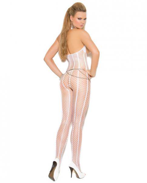 Vivace Open Bust Crochet Bodystocking Open Crotch White O/S