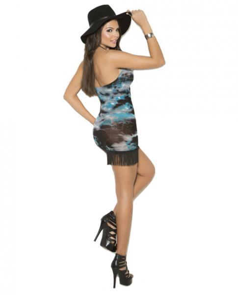 Vivace Halter Mini Dress Fringe Trim Multi-Color O/S