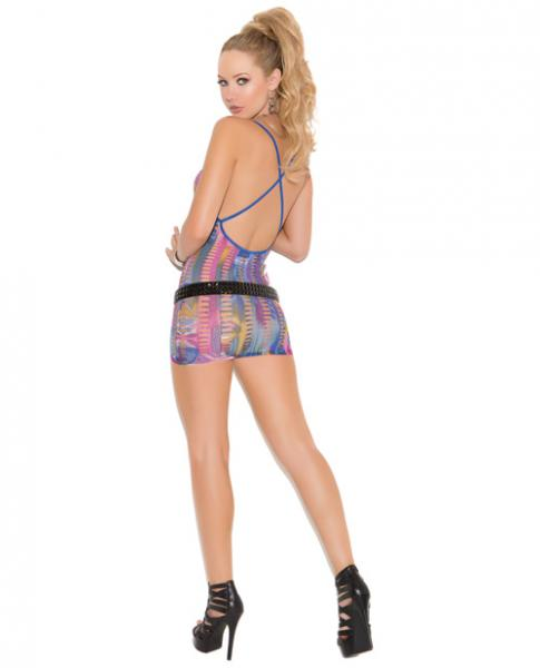 Vivace Deep V Halter Mini Dress Multi Color O/S