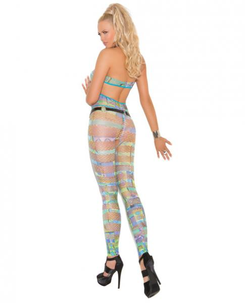 Halter Bodystocking In Geometric Print Multi Color O/S