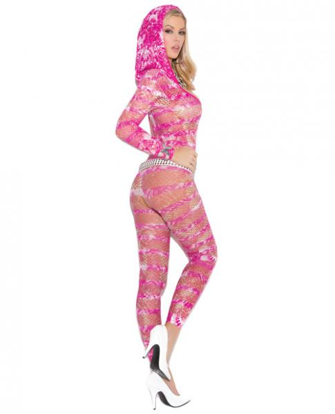 Hooded Deep V Crotchless Bodystocking Tie Dye Multi O/S