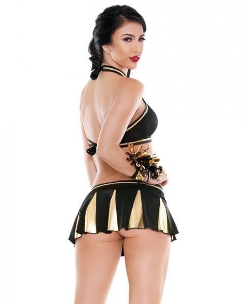 Play Crowd Pleaser Cheerleader Costume Set Black Gold M/L