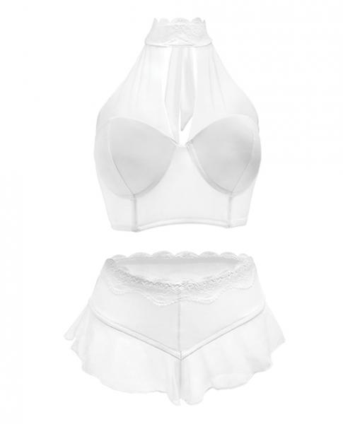 Premiere Embroidered Halter Bra & Panty White 1X