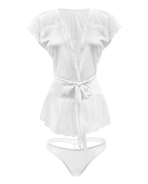 Premiere Soft Micro Bed Jacket & Panty White Sm