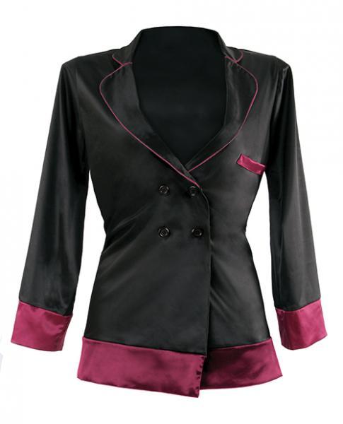 Premiere Marjorie Contrast Cuff Satin Blazer Jacket Black Berry 3X/4X