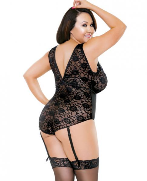 Curve Lace Gartered Teddy Black 1X/2X