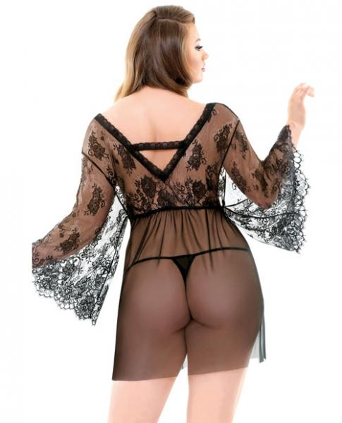 Curve Courtney Lace Robe & G-String Black 1X/2X