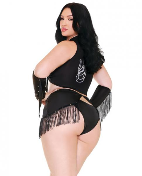 Sassy In The Saddle Cowgirl Costume Black White 3X/4X