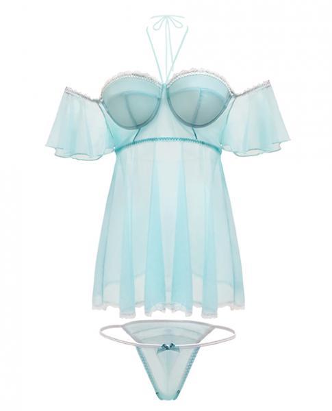 Spring Summer Off The Shoulder Babydoll & Panty Mint S/M