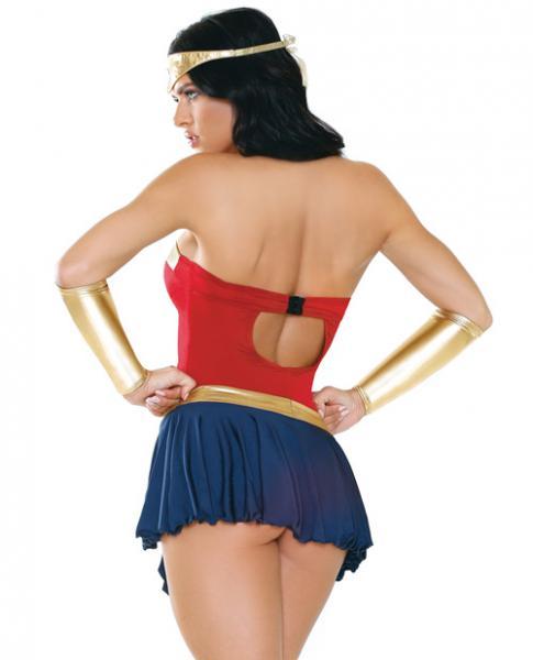 Wonderbae Superhero Costume Set Red, Gold, Blue M/L