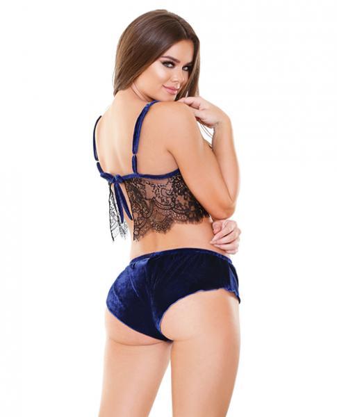 Tease Alana Lace, Velvet Cami & Shorts Set Blue M/L